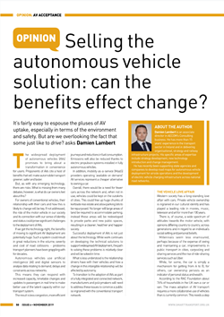 Selling the autonomous vehicle solution: can the benefits effect change? -  Damien Lambert